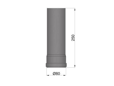 Pelletkachelpijp 1.2mm 80 buisdeel 25 cm zwart
