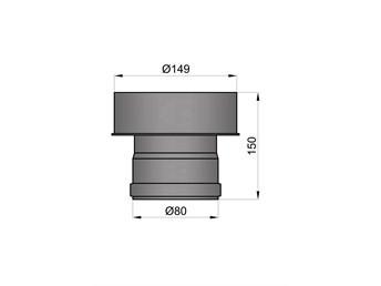 Pelletkachelpijp 1.2mm 80 aansluitstuk naar 150 inw. zwart