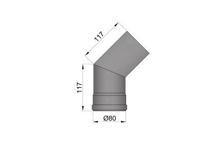 Pelletkachelpijp 1.2mm 80 bocht 45° zwart
