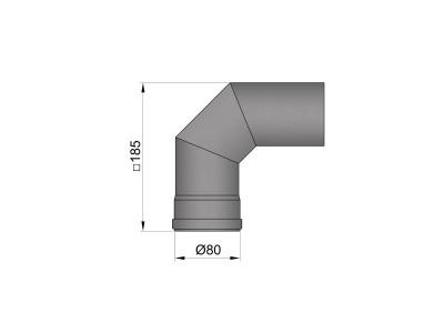 Pelletkachelpijp 1.2mm 80 bocht 2x45° zwart