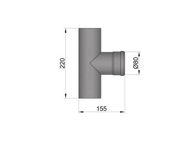 Pelletkachelpijp 1.2mm 80 T-stuk M/F zwart