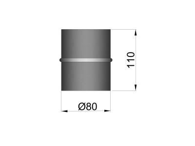 Pelletkachelpijp 1.2mm 80 koppelmof M/M zwart