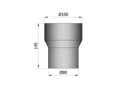 Pelletkachelpijp 1.2mm 80 verloopmof naar 100 M/M zwart