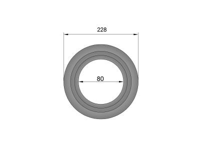 Pelletkachelpijp 1.2mm 80 rozet met rand 70 mm zwart