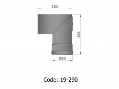 Pelletkachelpijp 1.2mm 80 bocht 90° met luik zwart