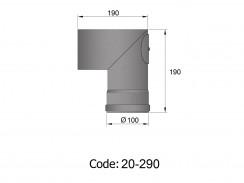 Pelletkachelpijp 1.2mm 100 bocht 90° met luik zwart
