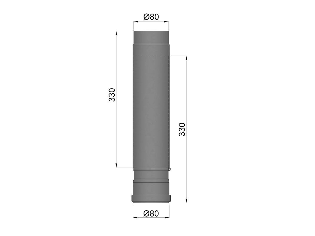 Pelletkachelpijp 1.2mm 80 schuifpijp 50-80 cm zwart