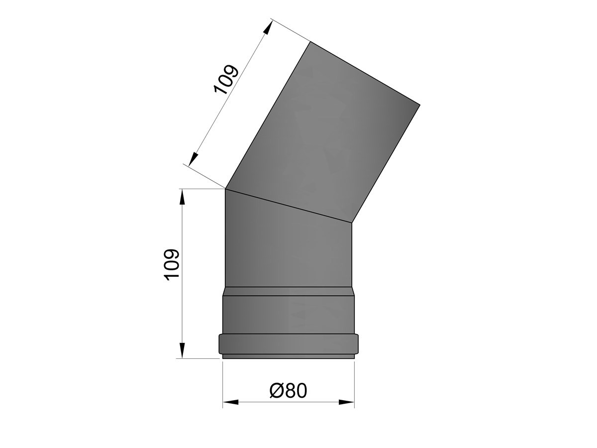 Pelletkachelpijp 1.2mm 80 bocht 30° zwart