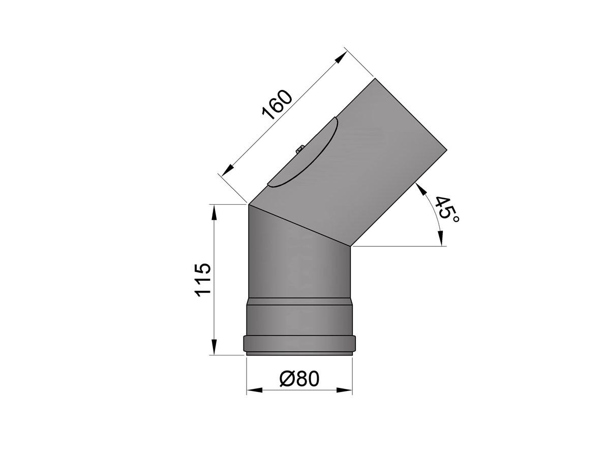 Pelletkachelpijp 1.2mm 80 bocht 45° met luik zwart