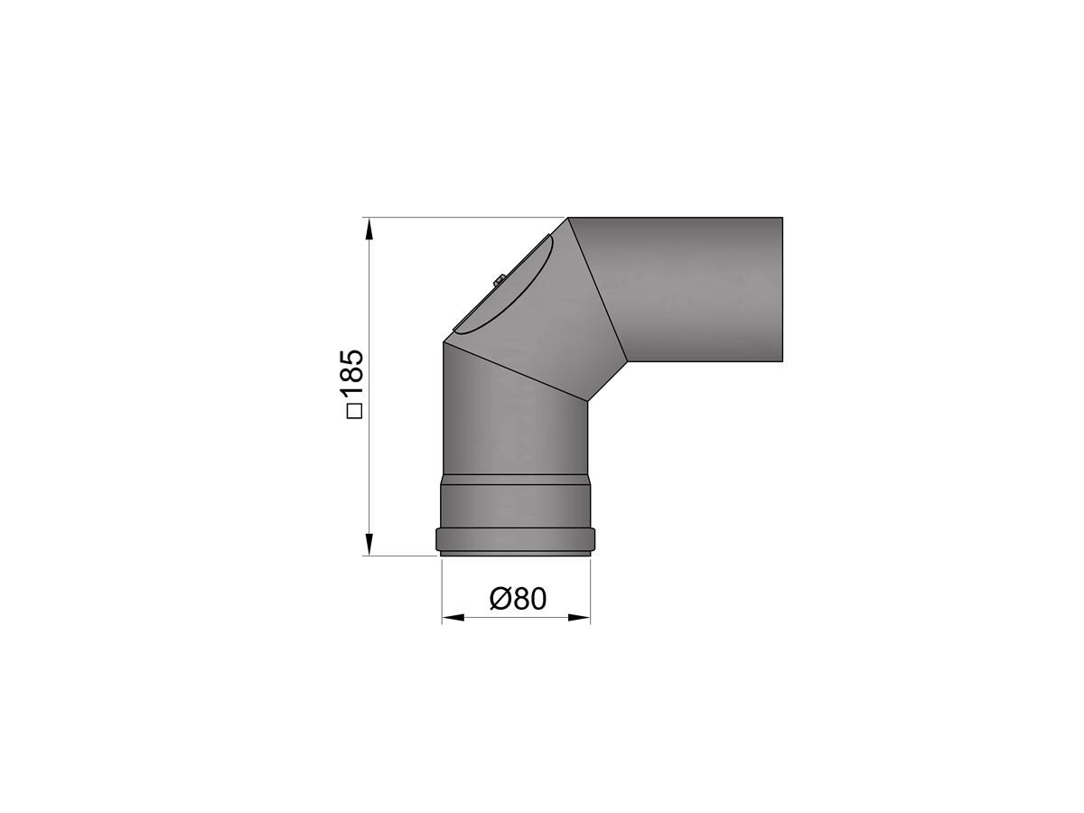 Pelletkachelpijp 1.2mm 80 bocht 2x45° met luik zwart