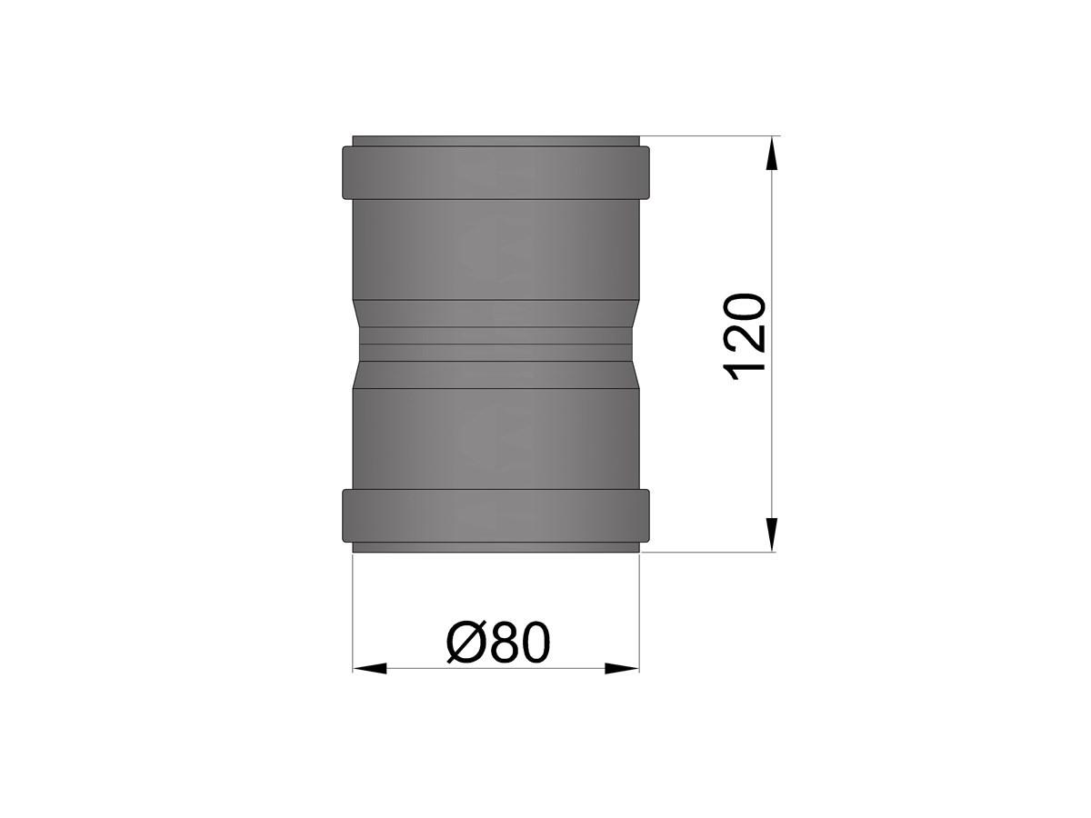 Pelletkachelpijp 1.2mm 80 koppelmof F/F zwart
