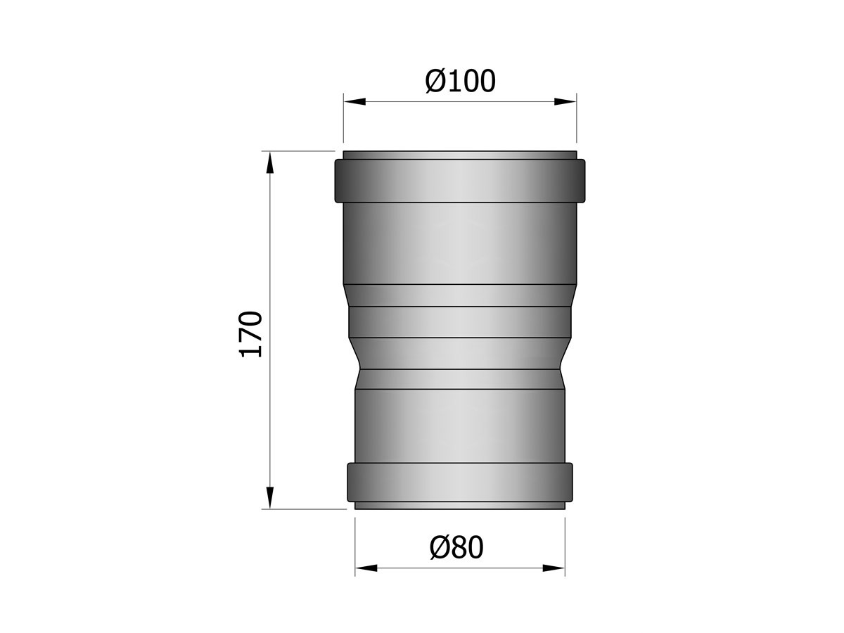 Pelletkachelpijp 1.2mm 80 verloopmof naar 100 F/F zwart