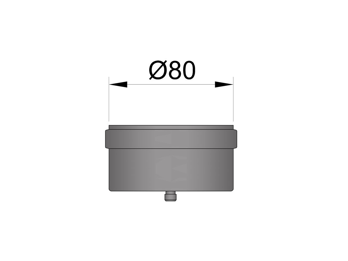 Pelletkachelpijp 1.2mm 80 einddop zwart